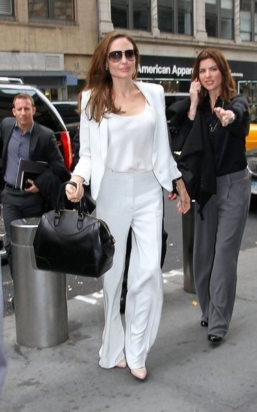 Angelina Jolie looking so stylish in a white suit #style #fashion #celebrities