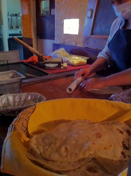 Making homemade flour tortillas