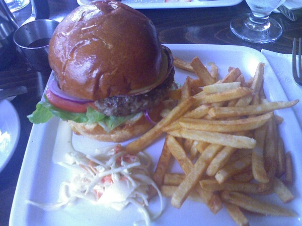 Grass fed burger on brioche at Autour du Monde
