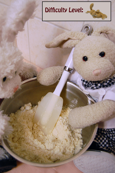 Zackary: Then we add butter until it looks crumbly like dis! Rufus: lemme see!! #cookinwifrabbits #cooking #baking