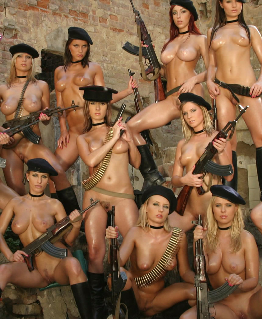 chicks naked with guns