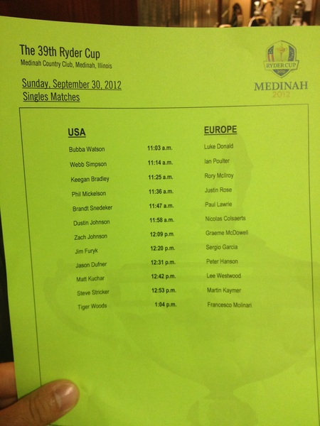Here's the line up for tomorrow's Ryder Cup Showdown Sunday. I'm 1209 against Zach Johnson