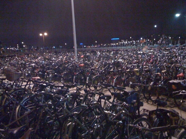 See a sea of bikes.