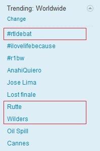 Wow #rtldebat #rutte & #wilders Wordwide trending topic!