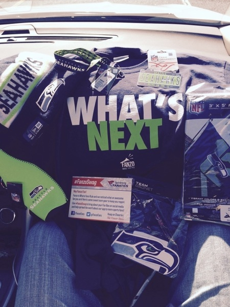 Ty @FanzoFans for #FanzoSwag true #12s T,  @Seahawks hat, cup holder, team flag & more. sponsored @Fanatics! #gohawks