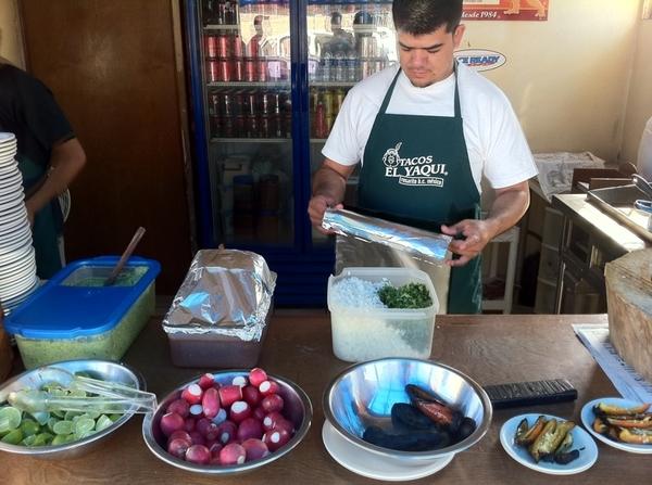 Perrones/Yaki in Rosarito: Carnegie asada tacos on hmade flour tortillas, skirt, beans, avoc, arbol salsa, etc etc