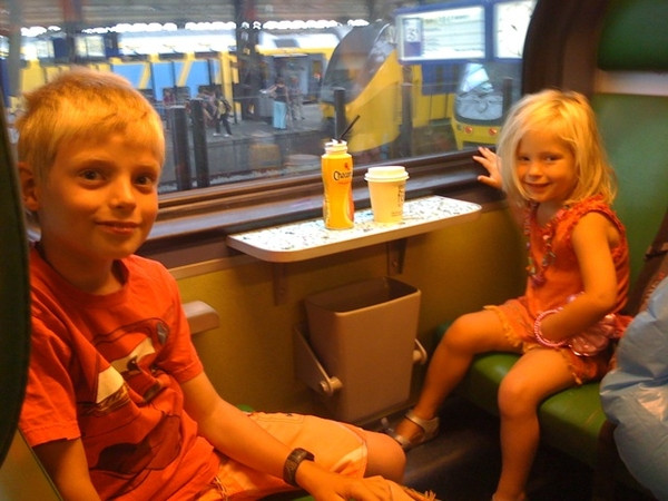 In train w/ kids to the beach!