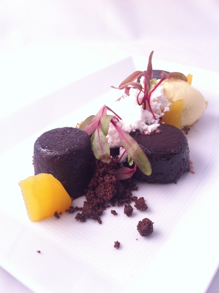 "All-Vegetable Topolo Tasting dessert: custardy choc cake ""torrejas"" w choc beet sce,candied beets,olive oil ice cr"