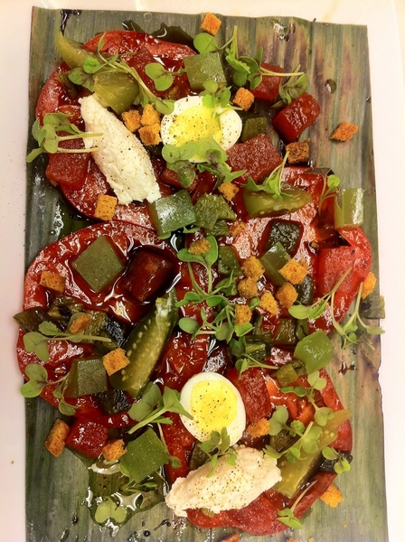 Testing poss new dishes 4 Topolo: Heirloom tomato salad: homade tequila vin, smoked ricotta; cuke jewels, w'melon