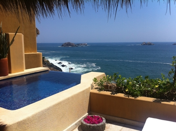 Ok. Just arrived at Capella in Ixtapa.  And this is what I'm looking at from my balcony. I keep pinching myself.