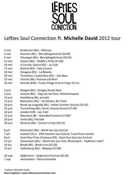 Een paar aanvullingen voor de 2012-tour van @TheLefties. Zorg ervoor dat je daarbij bent!