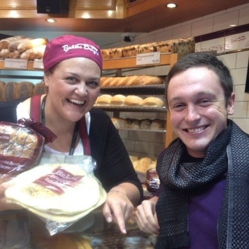 Just met the gorgeous  @hamishfitzy at Bakers Delight in Lygon Street. He seemed to like me despite my hideous hat...
