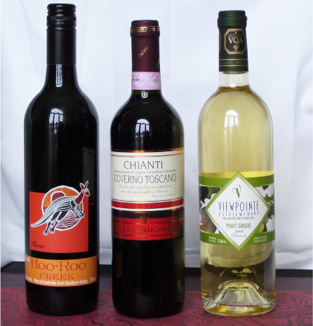 Three feature wines from Carriage Trade. Hoo Roo Creek Shiraz ($13.95), Governo Chianti ($15.95), Viewpointe Pinot Grigio ($9.96). Fine wines. NOT in LCBO. Licensee prices.