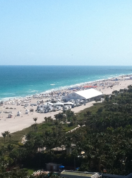 "View from my hotel room overlooking South Beach. Tent is where I'll be serving my ""Top Chef Masters"" tacos tonight"