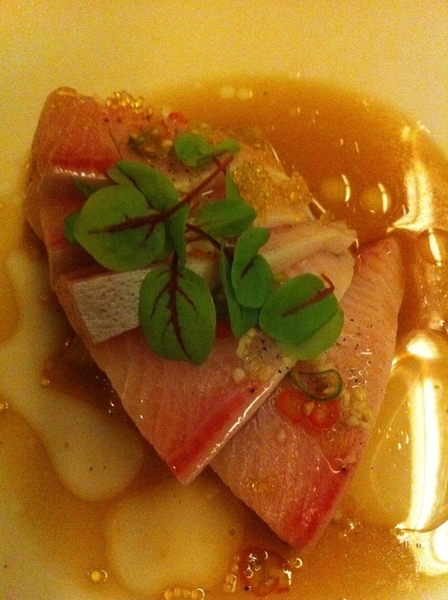 Uchiko: gorgeous hamachi w yuzu and micro sorrel