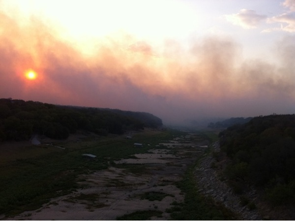 Smoke over the hills of Austin...