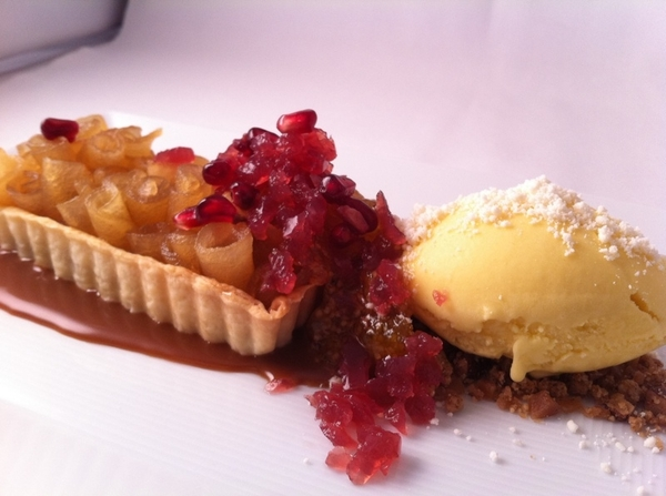 New Topolo dessert: apple-cajeta tart w ground cherry jam, pomegranate jewels; queso añejo ice cr