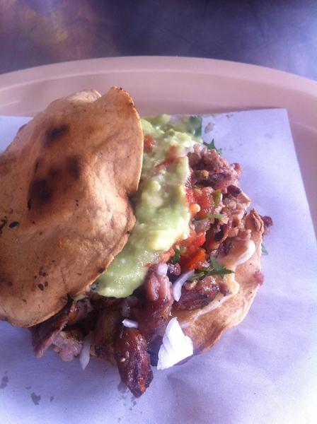 3rd stop taco crawl:Las 15 Letras: vampiro: grill-tstd tortilla w mltd chs,carne asada, chitlins, jal-tomato salsa