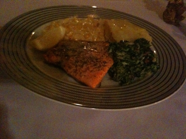 Salmon, spinach , cornsomethinh and mash yummm