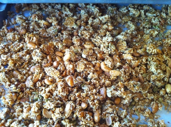 Mexican style granola (amaranth, honey, peanuts, pepitas, cashews, oats) st8 from oven for breakfast in Xoco