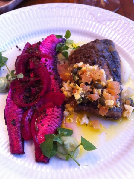 Nimb Brasserie:careful casual modern Nordic cuisine: haunting herring pickled w beets,herring sauteed w woodsorrel