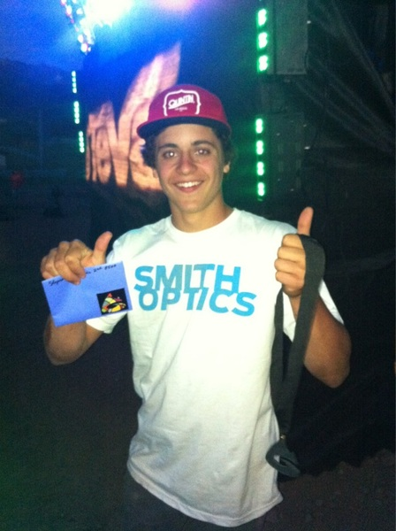 Yeah!!! @CarsonStorch just got second place and a handful of cash for his 720 in best trick at #tevamtngames !!