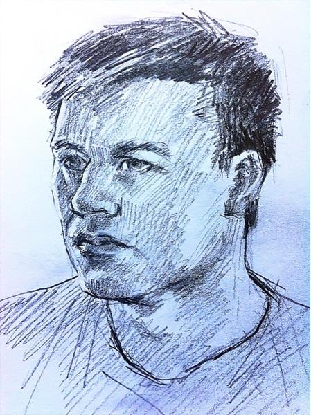 A Small Demonstration Portrait Drawing of Bernard