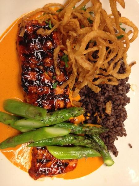Poss new Frontera dish: chipotle-grld salmon, raw p'nut salsa, crispy onions, grld asparagus