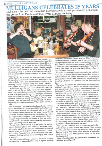 """Mulligans Celebrates 25 Years"" - My article published in this month's issue of The Irish Music Magazine. It's my second article published in this magazine. Woohoo! :)"