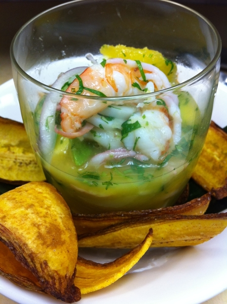 At Red O in LA: possible new menu item: Yucatecan shrimp&squid ceviche w habanero, sour orange,avoc,cuke,íicama