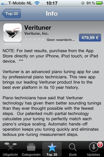 @iPhoneclub kennen jullie deze app al: #verituner, kost 'slecht' €479,99