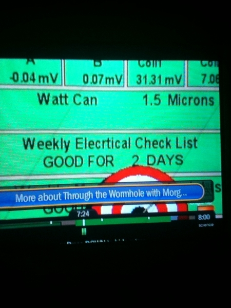 Watching Through the Wormhole rerun. There is a typo in the display for Fermilab's Tevatron. #ISlayTypos