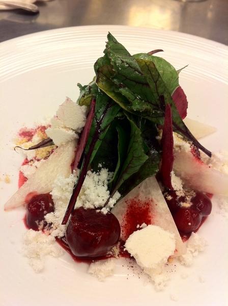Another poss dish 4 new Topolo menu: modern ensalada de Noche Buena: beet-jicama salad w pnut marzipan,beet greens
