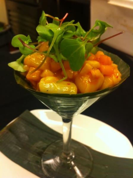 Poss Frontera dish: Baja bay scallops ceviche w mango, guajillo, lime, radish sprout