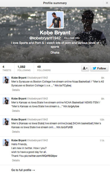 Nice, Kobe Bryant (of zijn vader) volgt me op Twitter