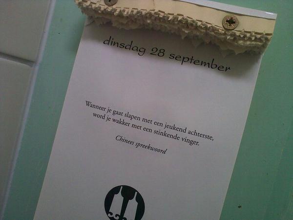 En dat noemen ze Chinese Wijsheid? :-) Blij dat we volgend jaar weer een @LoesjeNL scheurkalender hebben.