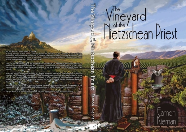 "Just Published Bookcover Design for ""The vineyard of the Nietzschean Priest"""