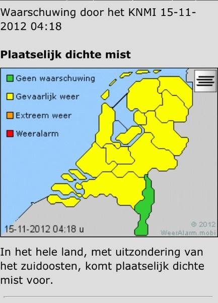 Let op! Het KNMI waarschuwt voor plaatselijk dichte mist. #weer #Oldenzaal