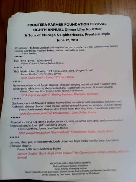 "Frontera Farmer Foundtn ""Dinner Like No Other"" starts n 90 min. R chefs' chance 2 have (local) fun ea yr. Menu pic"