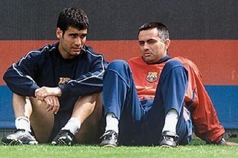 Una foto para recordar... y guardar #Guardiola y #Mourinho en el @FCBarcelona_cat (vía @mforok) #futbol #fcb #rma