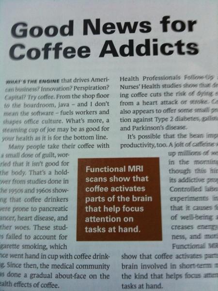 Good news for coffee addicts