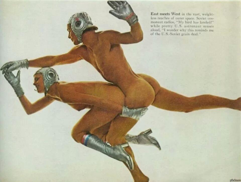 Фото плейбоя, посвященная первой стыковке Союза и Аполло, 1975 год