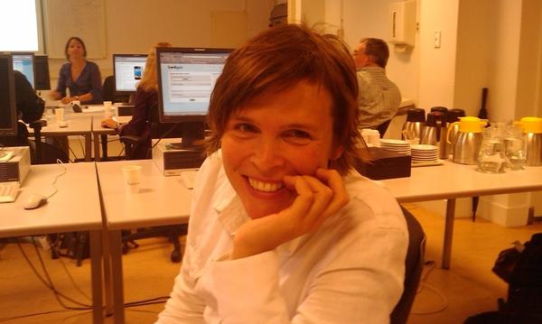 Foto van Anne tijdens Web 2.0 cursus