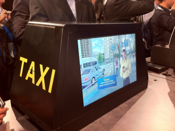 Digital Signage to Top Hat Taxi Cabs of the future. Intel Atom embedded inside #IDF10