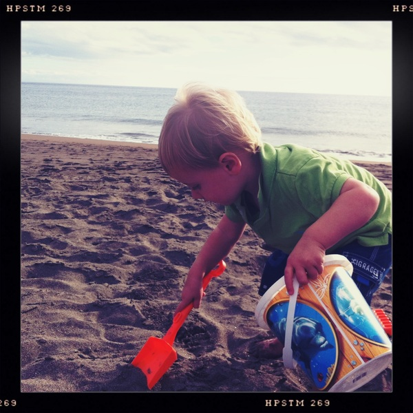Fletcher of the day: playing in the sand