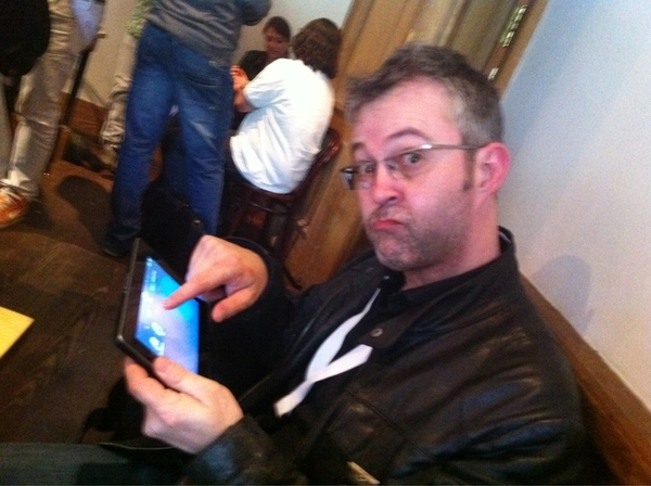 Mike Butcher @mikebutcher checking out the BlackBerry PlayBook at #TNW2011