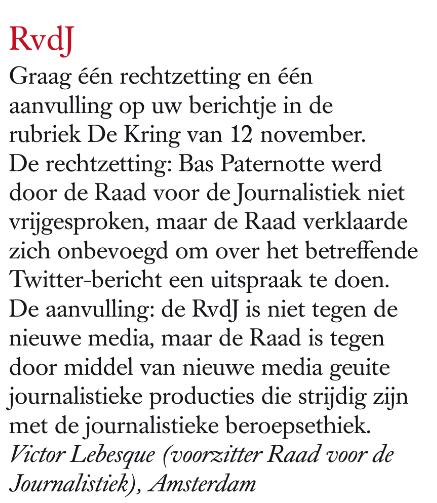 Dit vind de Raad voor Journalistiek @bastaart