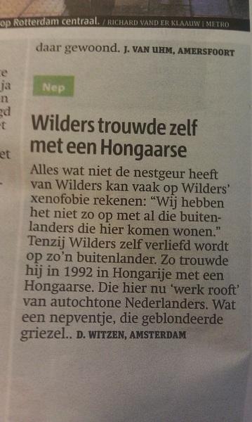 Wilders trouwde zelf met buitenlandse.
