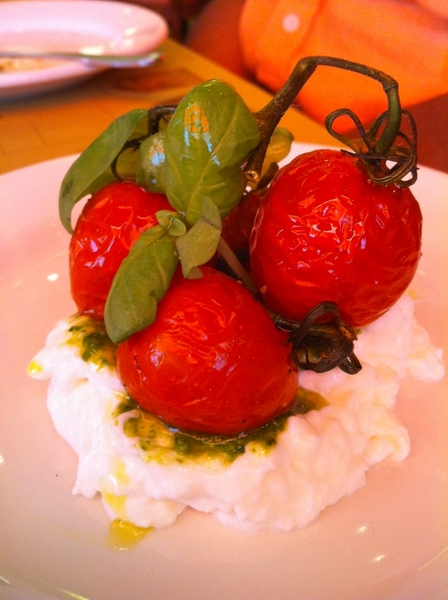Wow what a great lunch at Pizzeria Mozza in LA!  Crazy good take on caprese: burrata, pesto,roasted tomato on vine