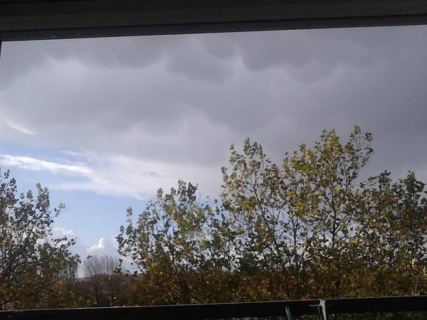 Op de foto niet heel goed te zien, maar in het echt mooie mammatus wolken boven Terneuzen. Er kwam echter geen regen of onweer uit. #buienradar